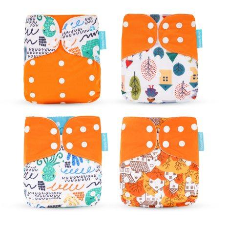Happyflute HOt Sale OS Pocket Diaper 4pcs set Washable Reusable Baby Nappy New Print Adjustable Baby 4