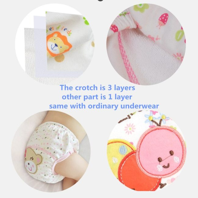 Washable Baby Diapers Reusable Cloth Nappies Waterproof Newborn Cotton Diaper Cover For Children Training Pants Potty 2