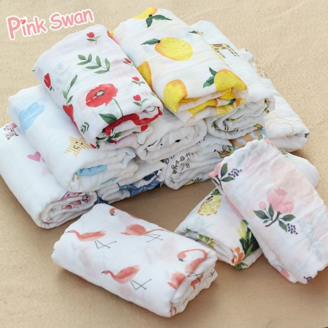 PINK SWAN 100 Cotton Flamingo Rose fruits Print Muslin Baby Blankets Bedding Infant Swaddle Towel For