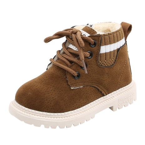 Fashion Winter Lace Up Kids Boots Toddler Infant Kids Baby Girls Boys Warm Plush Flat With 2