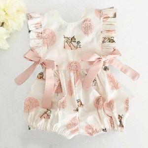 Newborn Infant Romper Baby Girl Boy Bow Cartoon Deer Romper Jumpsuit Clothes Outfits Sleeveless Backless Vestidos