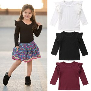 Kids Baby Girls Long Sleeve Blouse Tops Solid Casual Ruffle Blouse Shirt Tee Spring Autumn Toddler