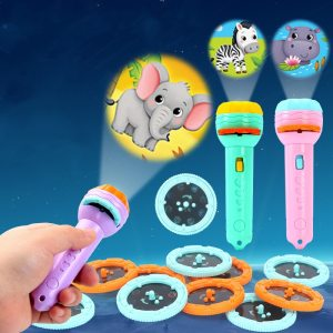 Baby Sleeping Story Book Flashlight Projector Torch Lamp Toy Early Education Toy for Kid Holiday Birthday
