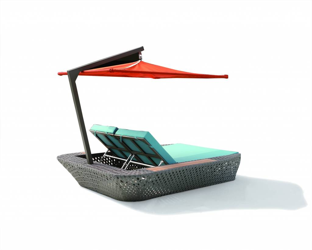 sunbrella chair cushion ergonomic bangalore verona modern outdoor double chaise lounge beach bed / daybed