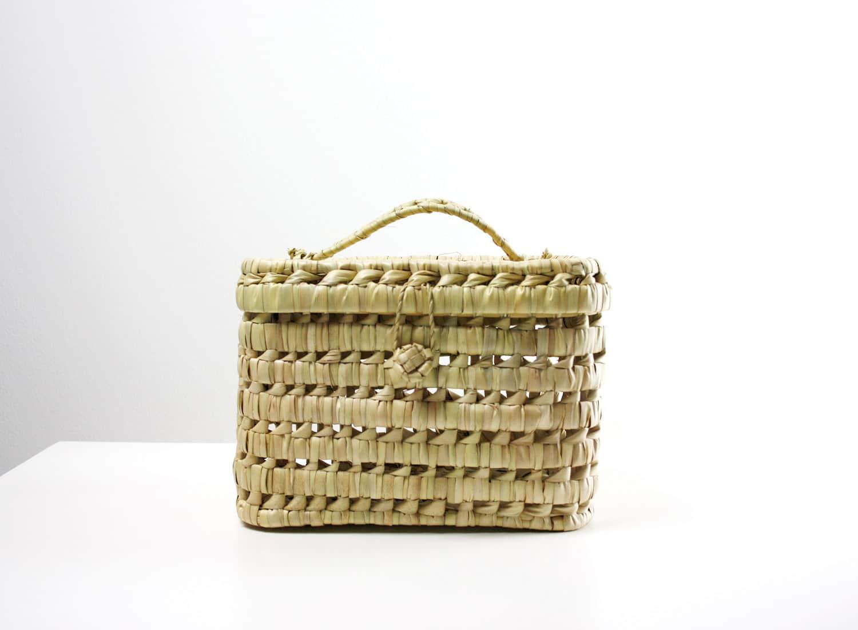 mini, picknickkorb, aus Palmenblatt