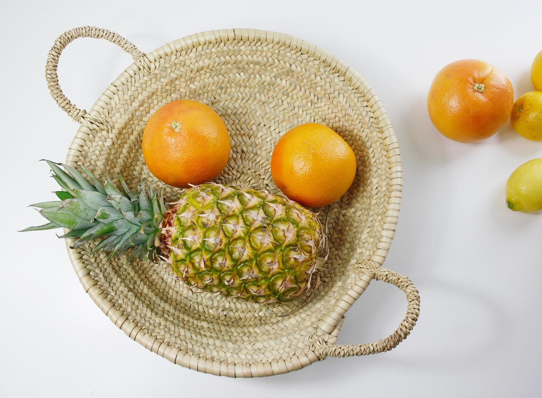 korbschale, aus palmenblatt