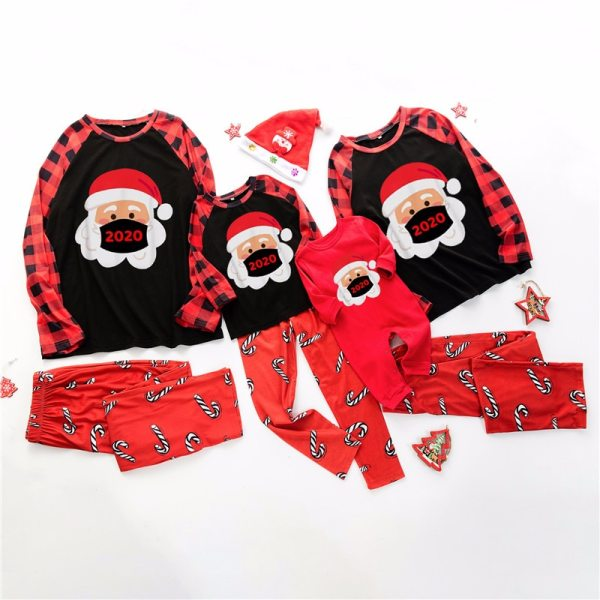 2020 Winter New Family Christmas Pajamas Set for Adult Baby Kids Homewear Dad Mom Boys Girls Cartoon Print Plaid Clothes Outfits