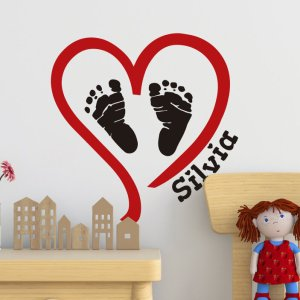 Muurstickers babykamer voetjes en hartje