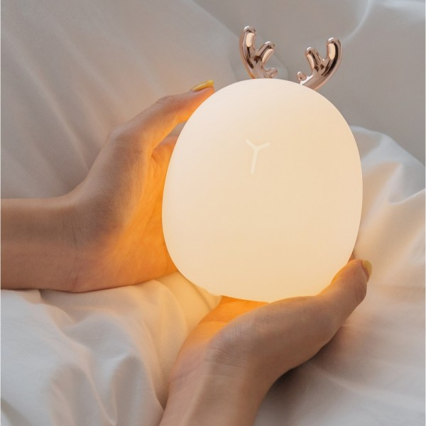 Rabbit Fawn Silicone LED Night Light Warm White Light USB Charge Childern Desk Bunny Night Lamp