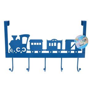 Blauwe kinderkamer deur kapstok treintje 28 x 31 x 9 cm
