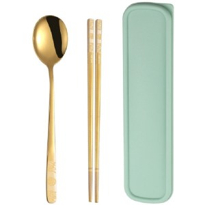 Roestvrij stalen servies Student Office Worker Portable Tableware Set Specificatie:2 PC's / Set Kleur:Gold