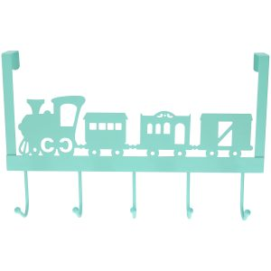 Mintgroene kinderkamer deur kapstok treintje 28 x 31 x 9 cm