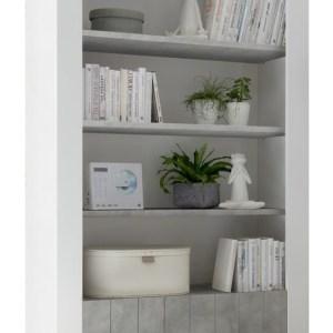 Buffetkast Urbino 190 cm hoog in hoogglans wit met grijs beton