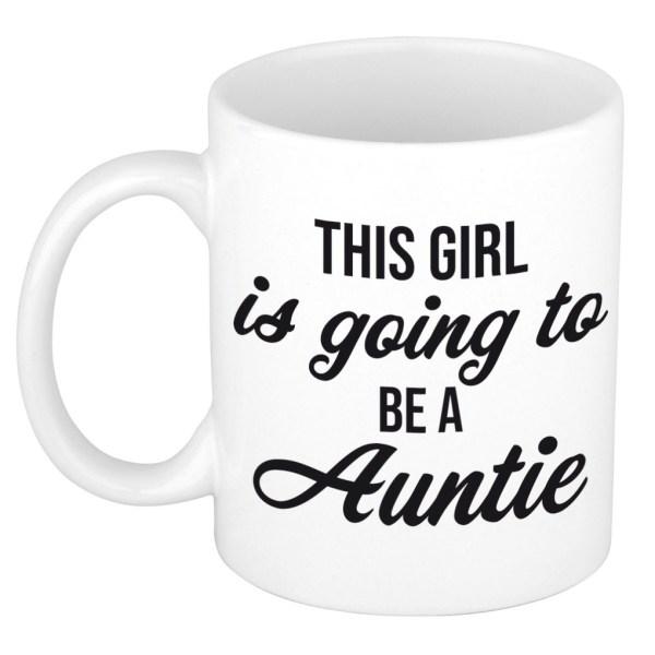 This girl is going to be auntie cadeau mok / beker wit - cadeau voor aanstaande tante / aankondiging zwangerschap
