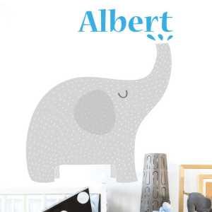 Muursticker babykamer olifanten naam