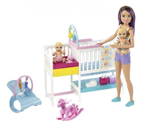 Barbie speelset Babysitter Skipper kinderkamer 10 delig