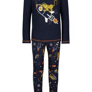 HEMA Kinderpyjama Katoen/stretch Cheetah Donkerblauw (donkerblauw)