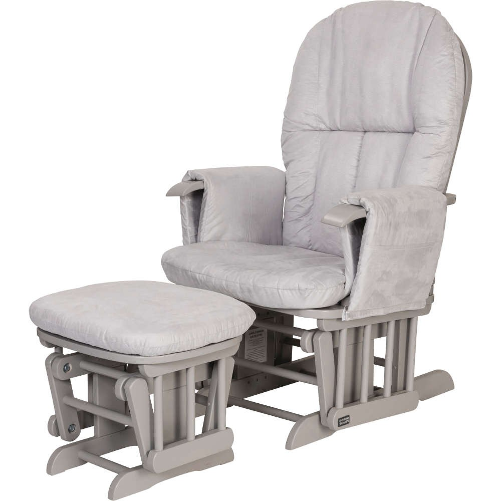 Gliding Chair Tutti Bambini Gc35 Reclining Glider Chair And Stool Cool Grey With Grey Cushions