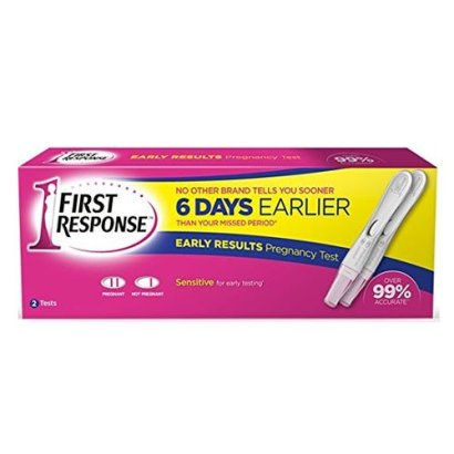 two pack of first response pregnancy tests in retail box