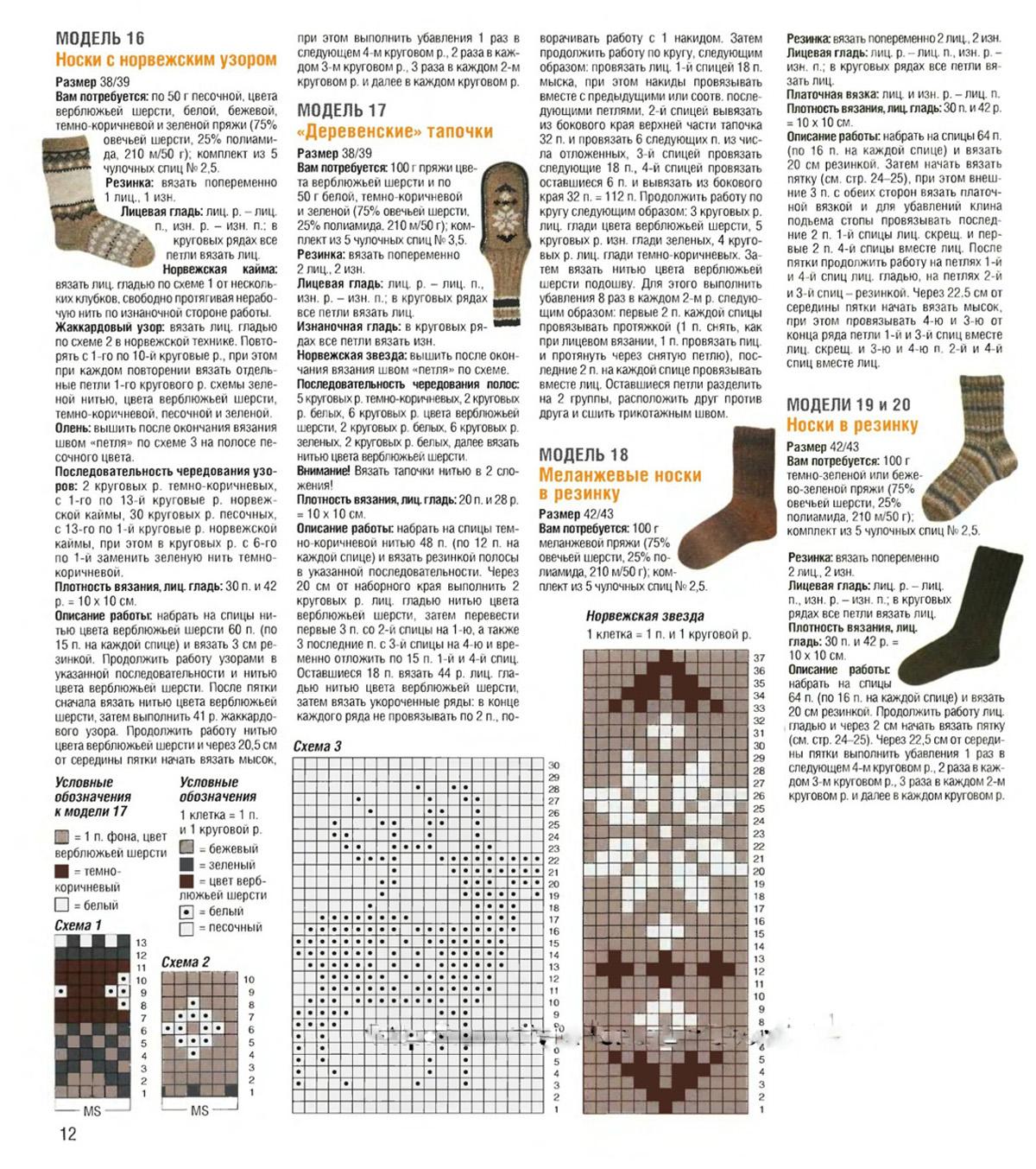 Вязание носков схемы и картинки