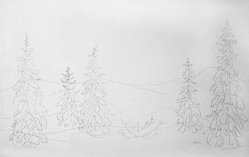 нарисовать зимние картинки поэтапно лилии