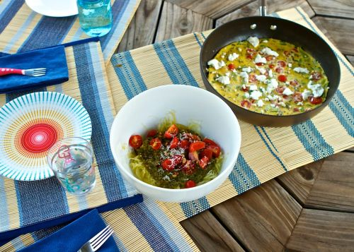 Easy, simple recipes: spaghetti squash pesto and zucchini frittata
