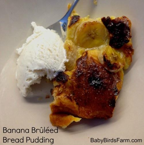 banana brulee bread pudding