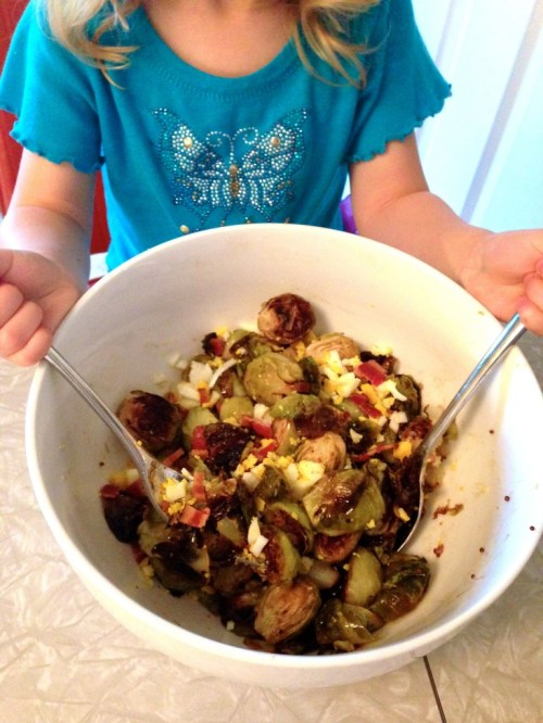 Kids cooking Brussels sprouts