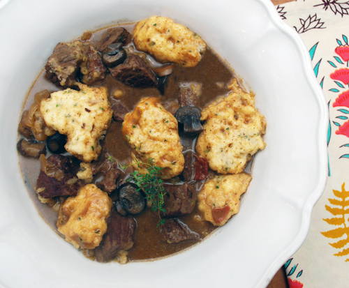 beer braised pot roast with herb dumplings