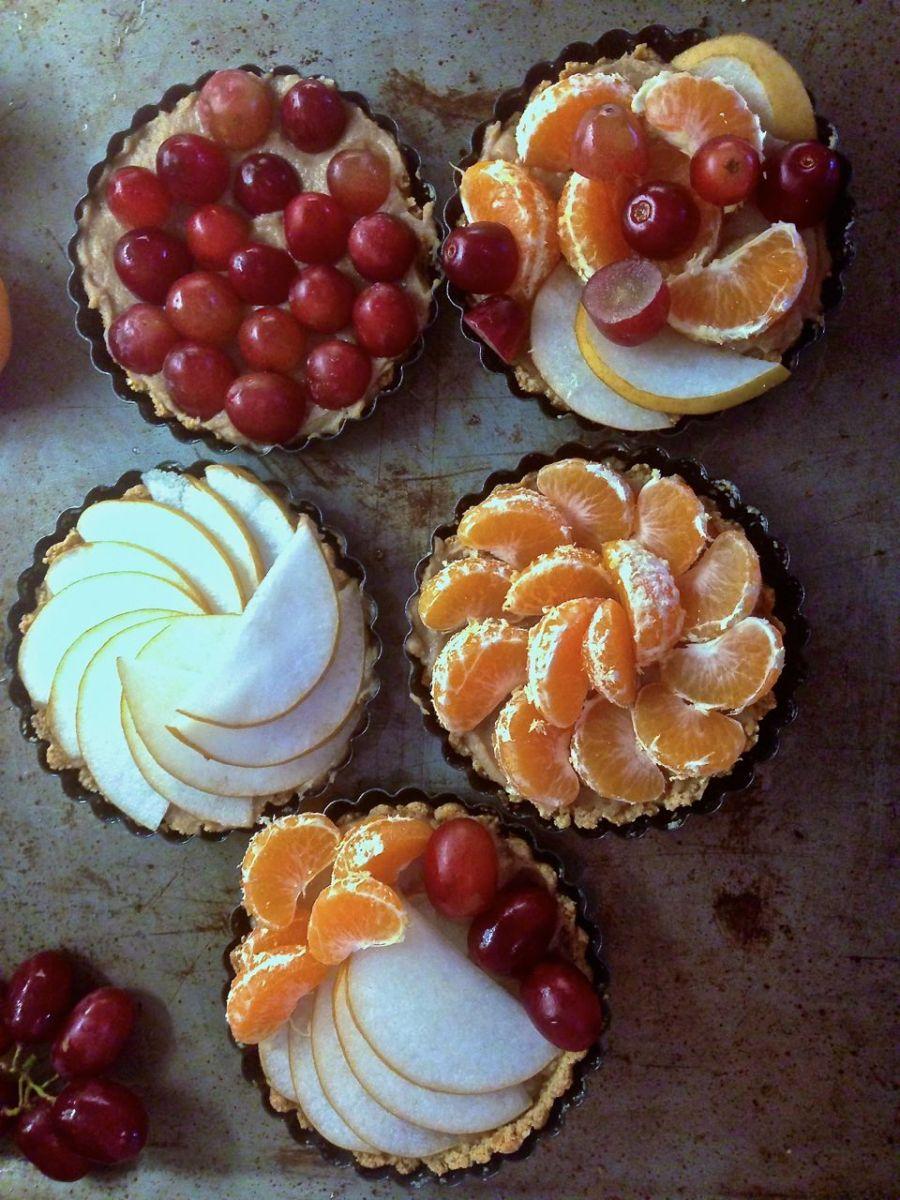 Chestnut Tart with Fresh Winter Fruit (GF, Vegan, Low Sugar)