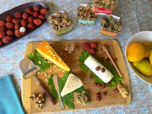 cheese and nut plate with clean snax
