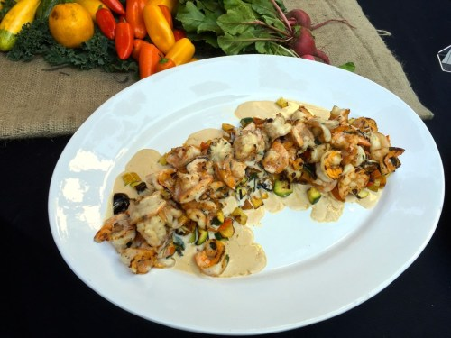shrimp and squash from specialty produce, made by chefs javier plascencia of bracero and mj testa of caffe calabria