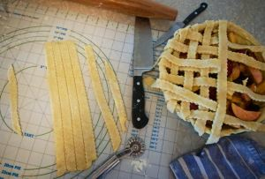 Lattice top for a Nectarine Pie