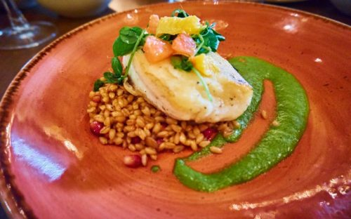 Red O Restaurant - Halibut with Adobo Verde, farro, and pomegranates