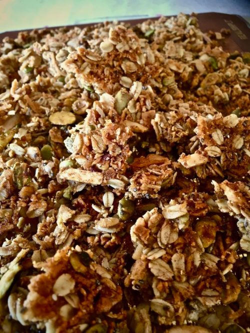Almond Pulp Granola with Mixed Nuts and Cinnamon