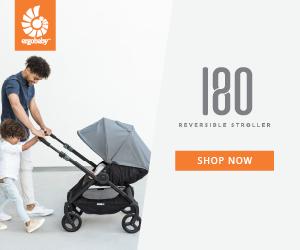 Dad pushing the reversible 180 stroller
