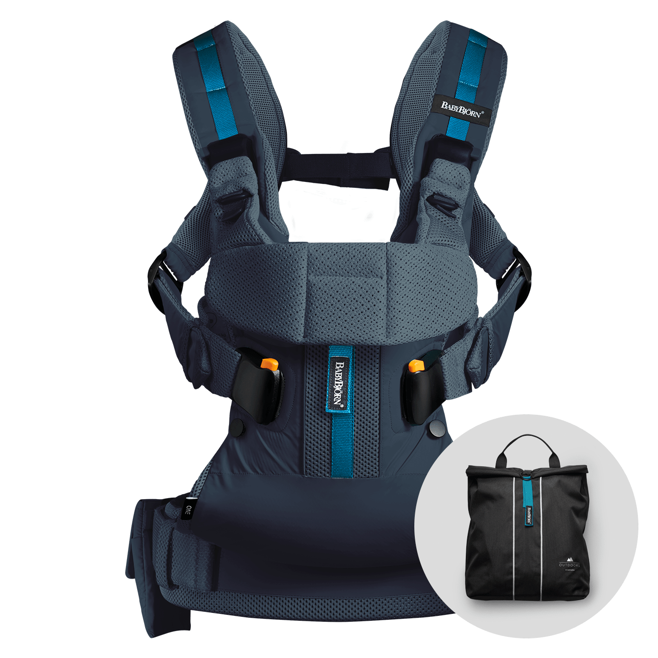 babybj rn baby carrier one outdoors in dark blue perfect for an active life