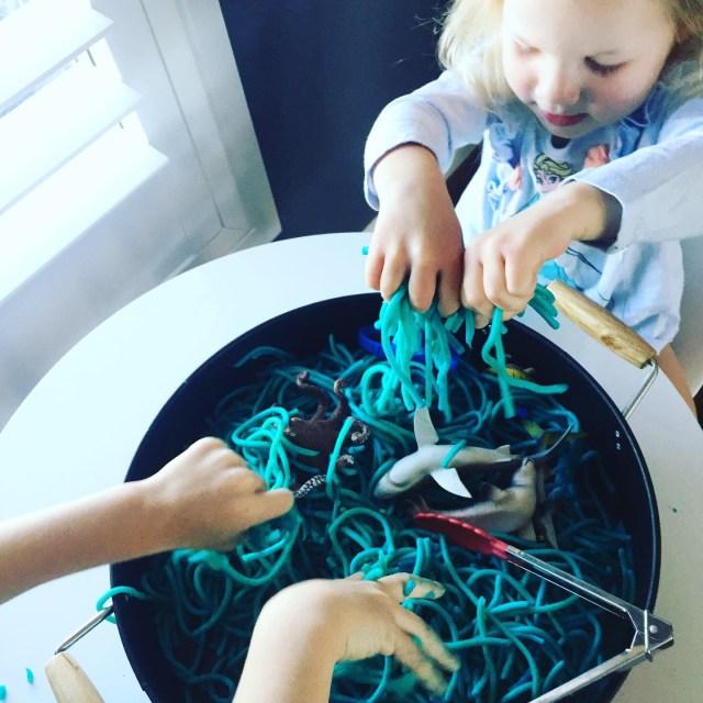 Spaghetti play for prewriting skills
