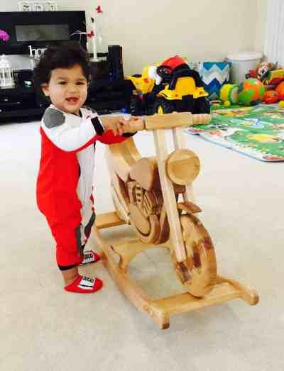 Wooden Motorbike Rocking Horse