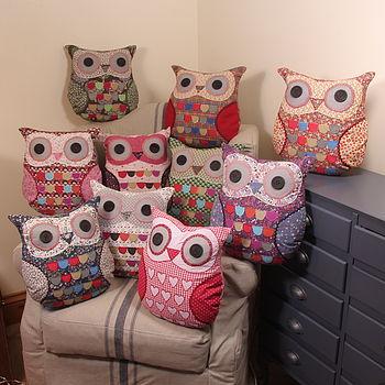 vintage owl, owl cushion