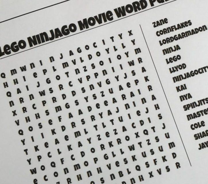 Ninjago puzzle, ninjago printable, ninjago wordsearch, ninjago party games, lego ninjago party ideas