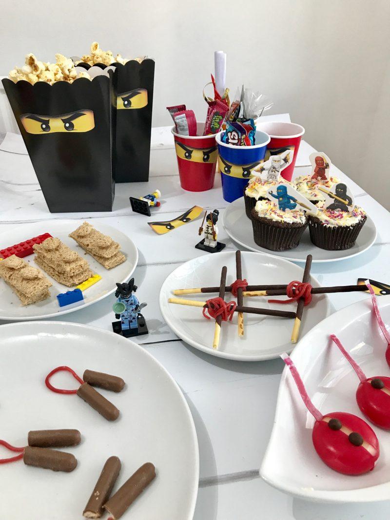 Lego Ninjago Party Ideas including Lego Ninjago party bags, Lego Ninjagp part yea and lego Ninjago fancy dress, Ninjago party food, Ninjago party tea, How to make lego sandwiches