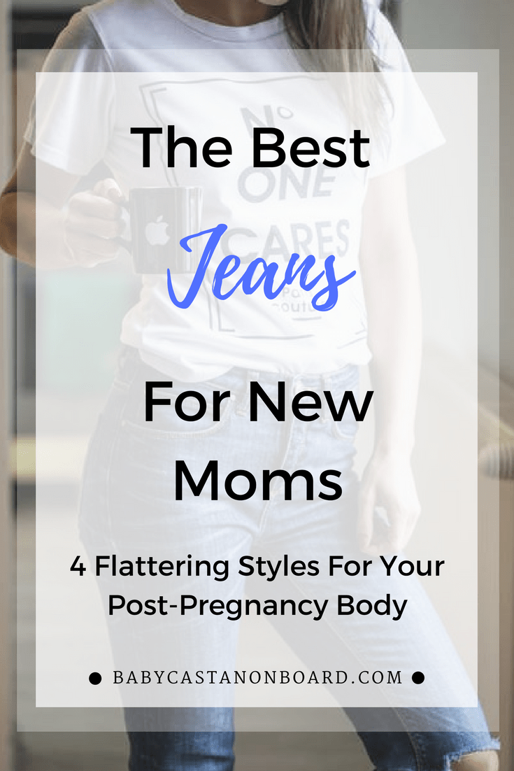 Four great jeans that flatter the post-pregnancy body, are comfortable, and are reasonably priced.