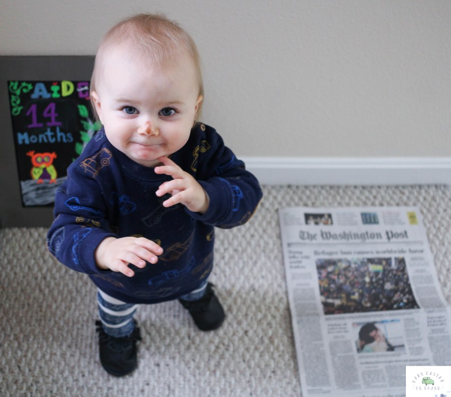 Monthly Milestone Photos for Baby featured by popular DC mommy blogger, Baby Castan on Board - Happy 14 Months Aiden featured by popular DC Mommy blogger, Baby Castan On Board