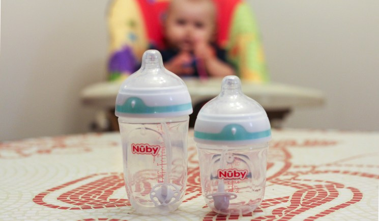 Nuby-360-comfort-babycastanonboard.com - Nuby Bottles Review: Nuby Comfort 360 Plus+ Bottles by popular DC mommy blogger Baby Castan on Board