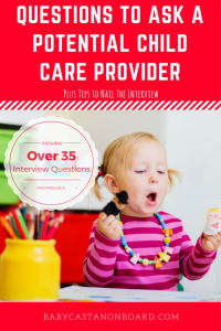 Child care can be a huge stress. Here are questions to ask a potential child care provider and tips to nail an interview -- plus a free interview printable. http://wp.me/p7MslS-1RJ