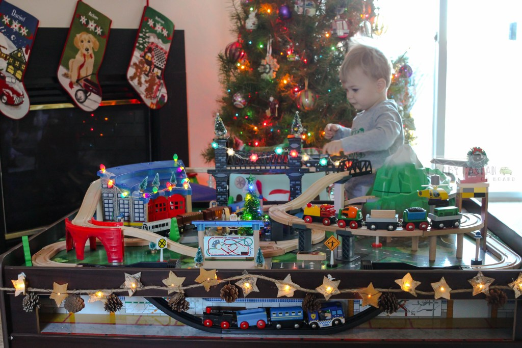 christmas train decoration with toddler trains