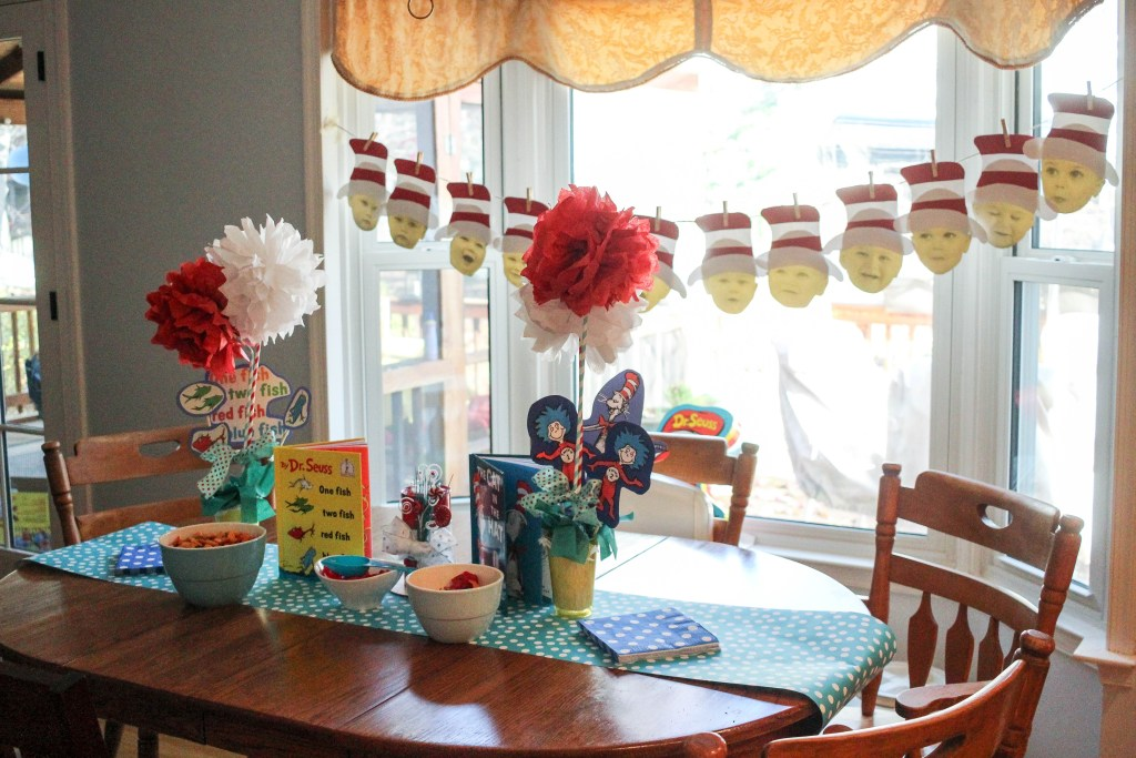 Dr. Seuss Themed Birthday Party-Table-set-with-Dr. Seuss-decorations-DC-Motherhood Blog