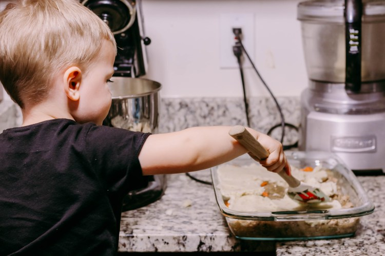 Cooking with a toddler by popular: Sheperd's Pie Recipe DC mommy blogger Baby Castan on Board