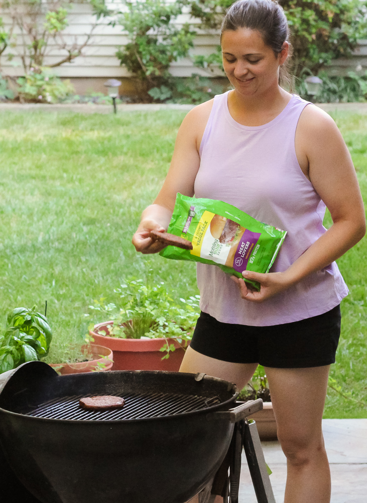 Morning Star Farms Meat Lovers Burger - How To Make a Delicious Meatless Monday Dinner featured by popular DC lifstyle Blogger Baby Castan on Board